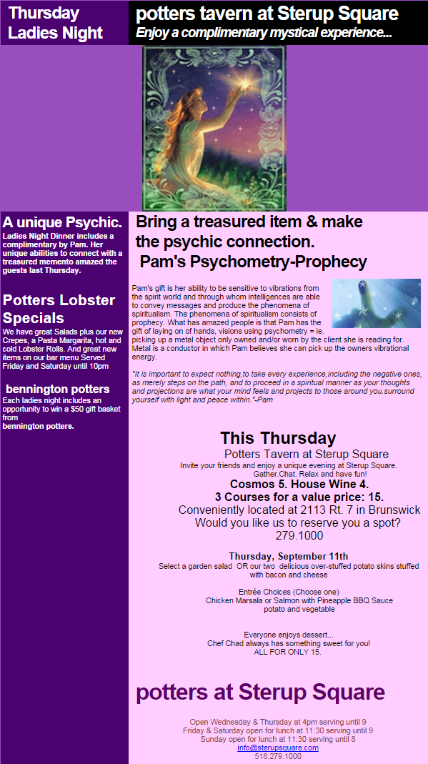 Potters Tavern at Sterrup Square - Psychic Medium Pam